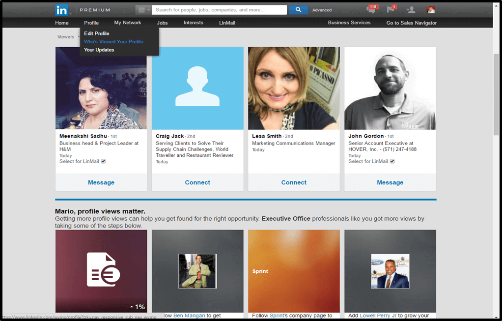 Who's Viewed Your Profile Screenshot on LinkedIn Connection Requests