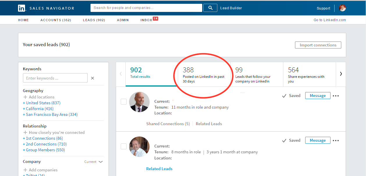 The Benefits of LinkedIn Sales Navigator include the Active in Last 30 Days filter. M3Jr Growth Strategies