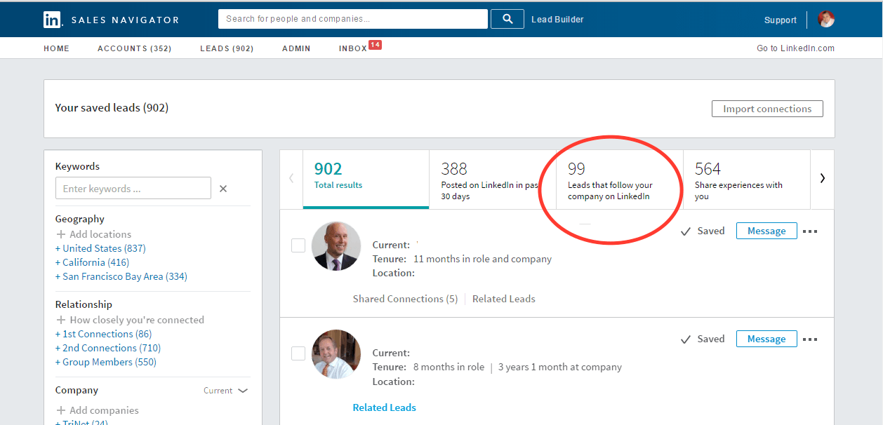 The Benefits of LinkedIn Sales Navigator include the Company Followers filter. M3Jr Growth Strategies