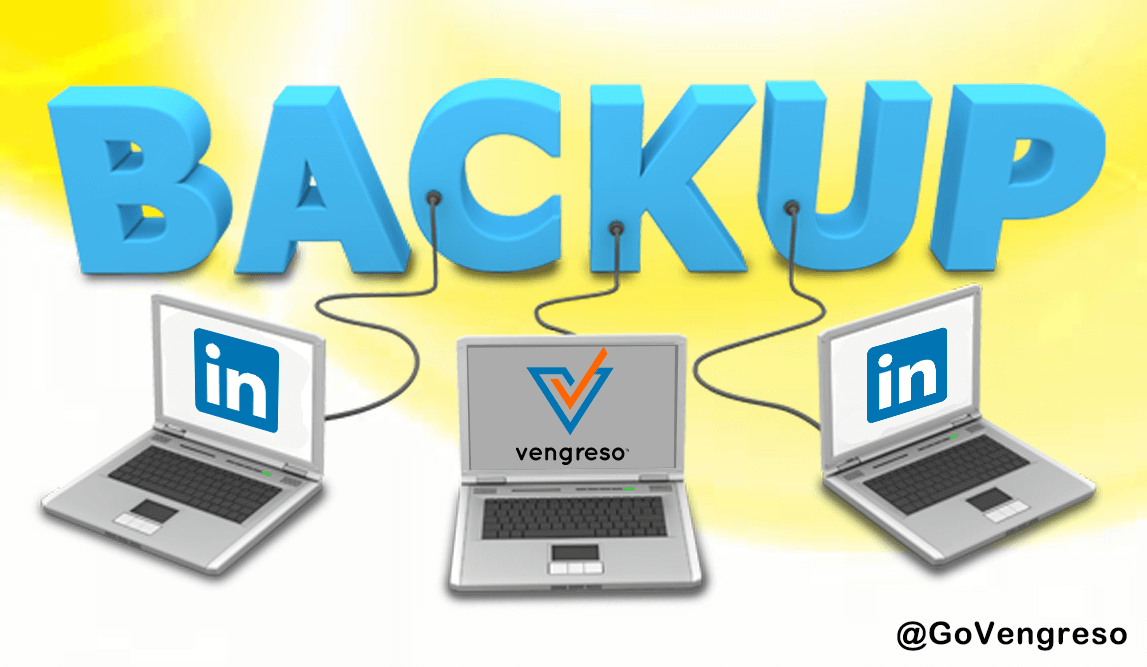 three laptops with LinkedIn logo connected to the blue 3D word BACKUP