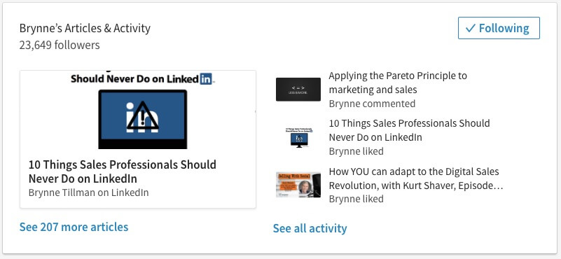 Great example of LinkedIn<sup>®</sup> activities - Brynne Tillman