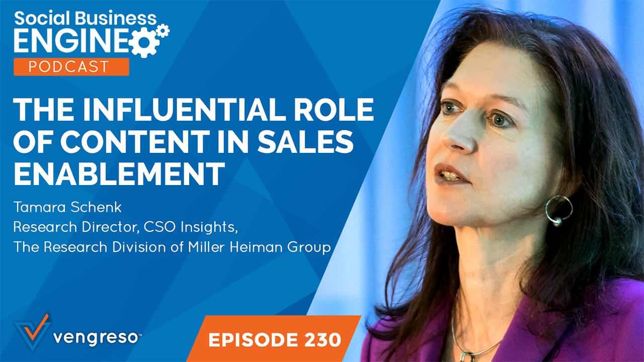 Tamara Schenk podcast interview about the influential roles of content in sales enablement.