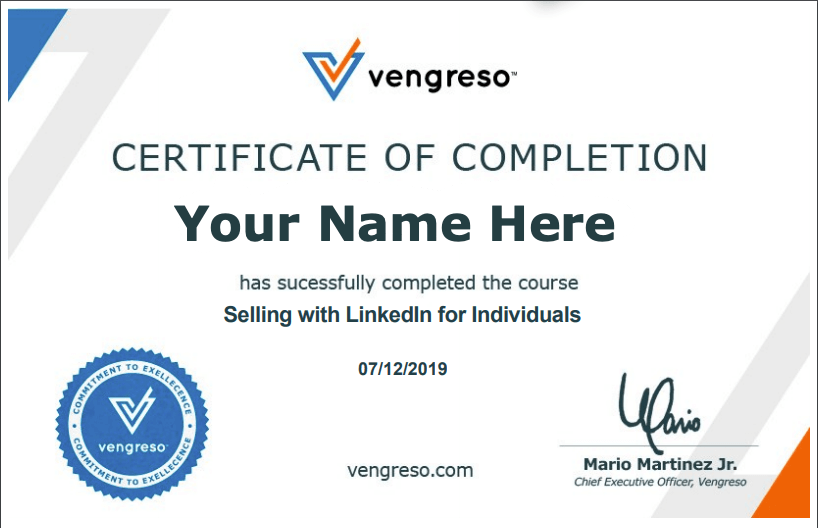 Vengreso Selling with LinkedIn Certificate of Completion