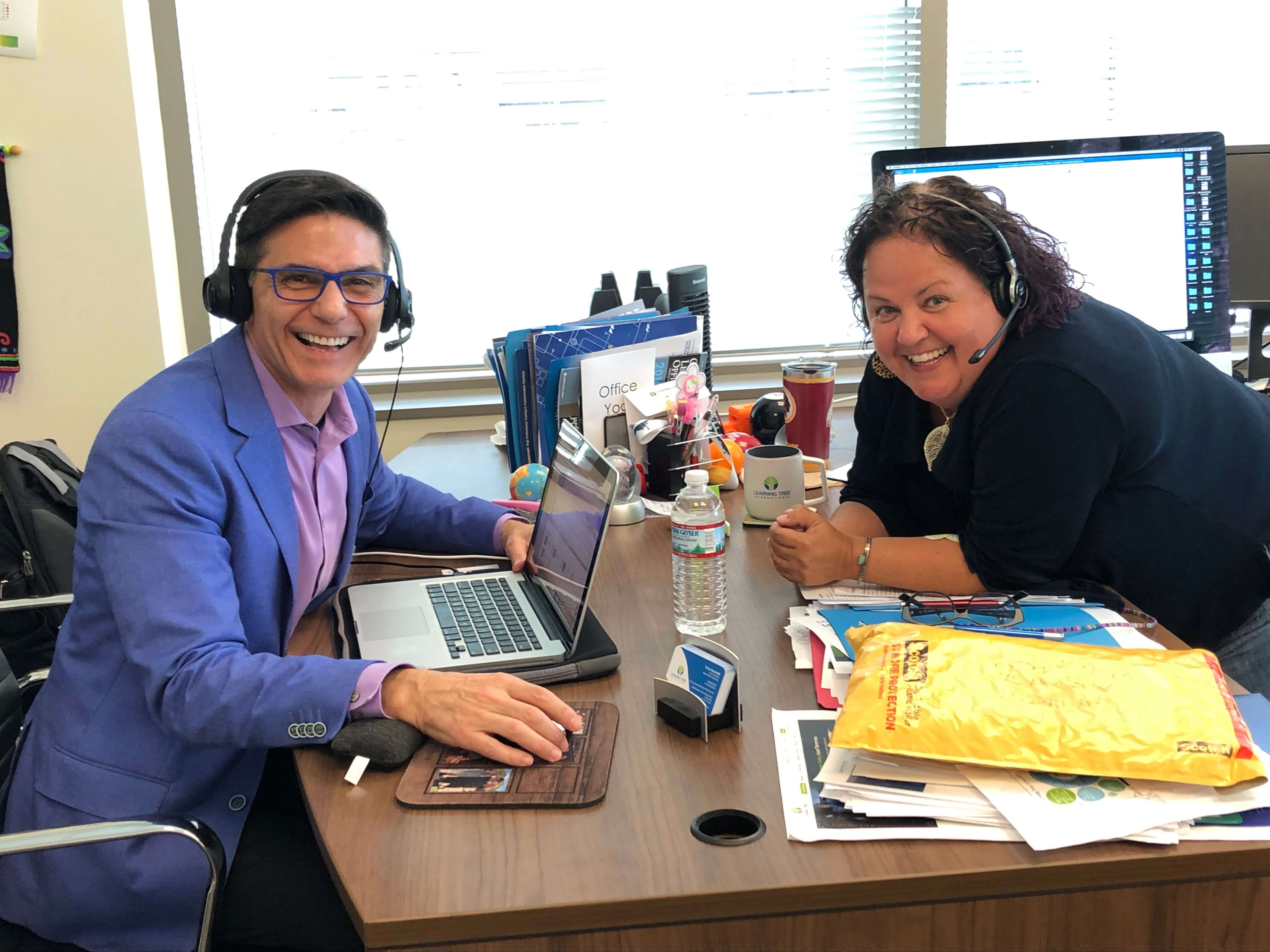 Behind the scene of the Modern Marketing Engine Podcast episode with Tricia Sacchetti and Bernie Borges - women in marketing
