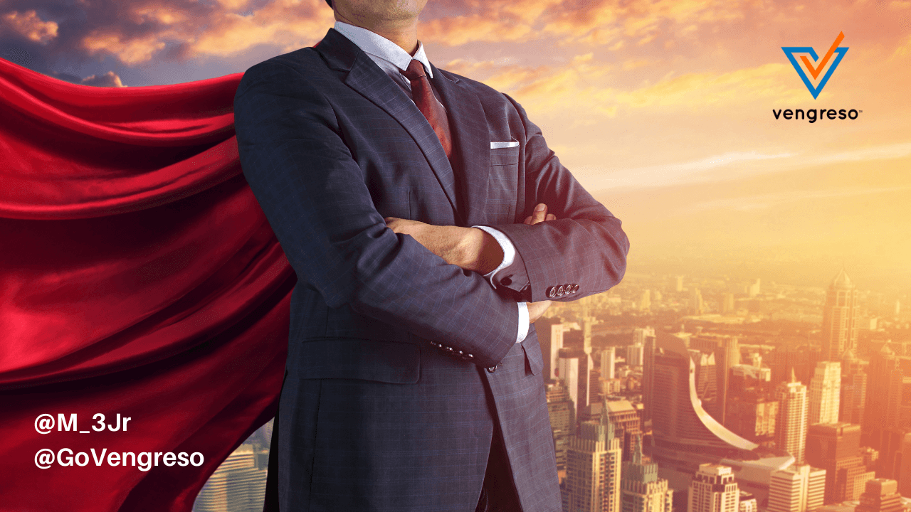 Sales Enablement Strategy super business man with cape