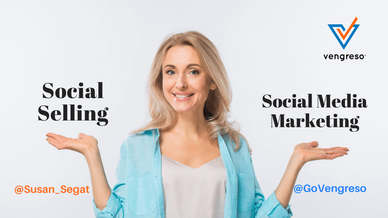 Woman comparing Social Social Selling or Social Media Marketing