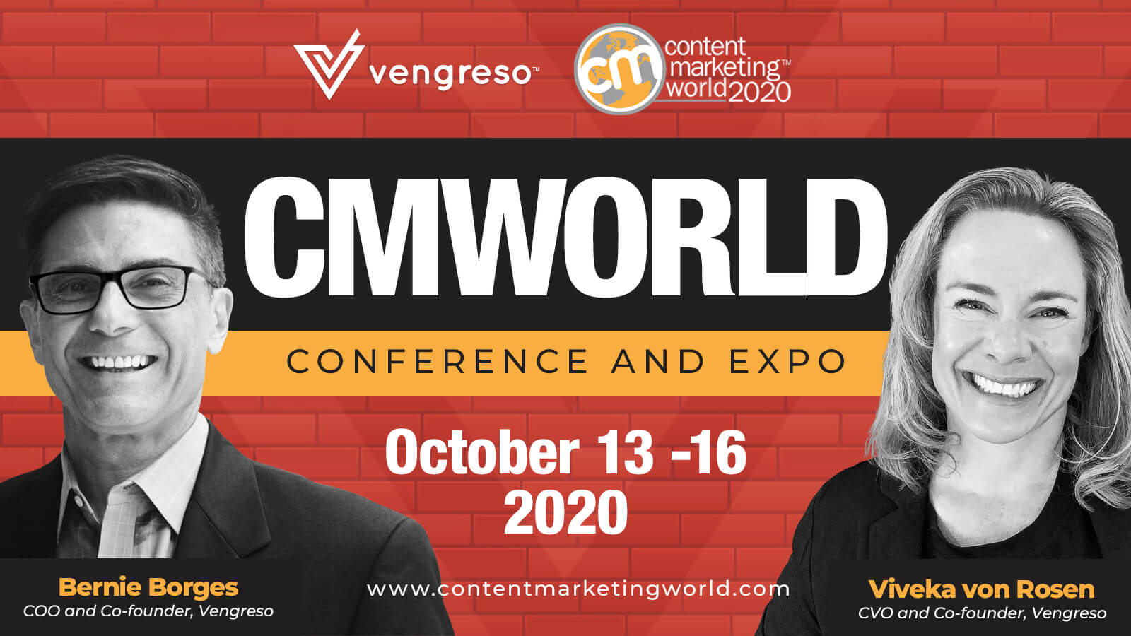 Join Viveka Von Rosen and Bernie Borges at Content Marketing World 2020