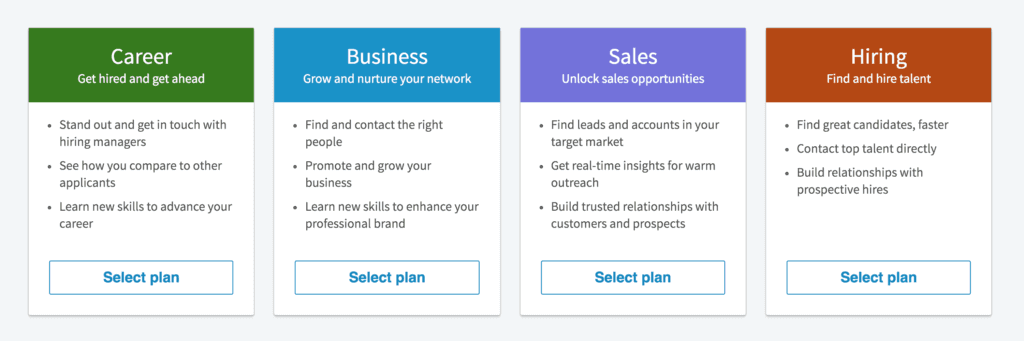 LinkedIn Premium Plans Comparison